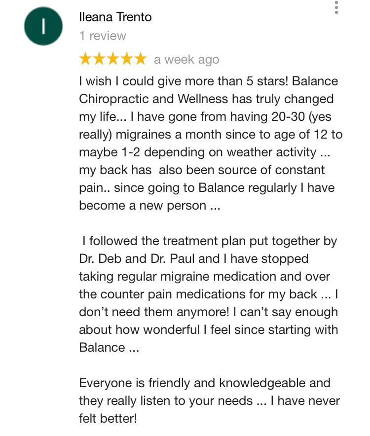 Balance Chiropractic and Wellness Center Patient Testimonial